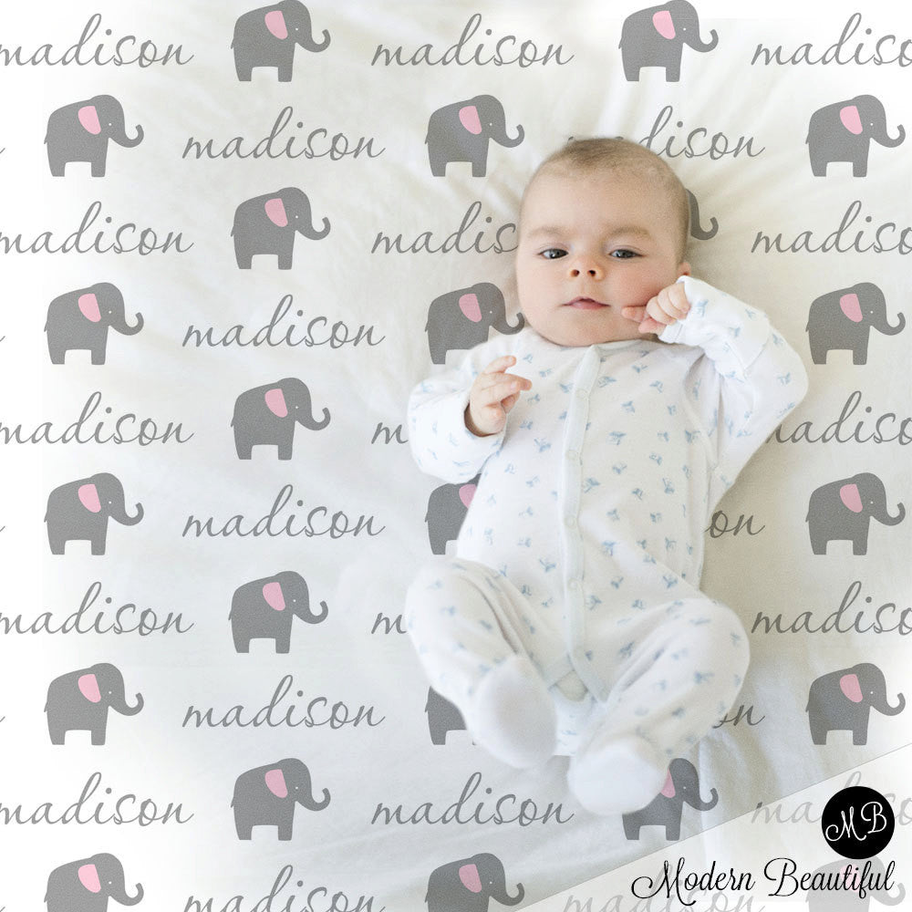Girl Elephant Name Blanket photo prop blanket, personalized baby gift, cursive script font, personalized blanket, choose colors