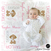 Puppy Personalized Name Blanket, personalized blanket, puppy blanket, girl baby blanket, baby shower gift, receiving blanket  PuppyG1
