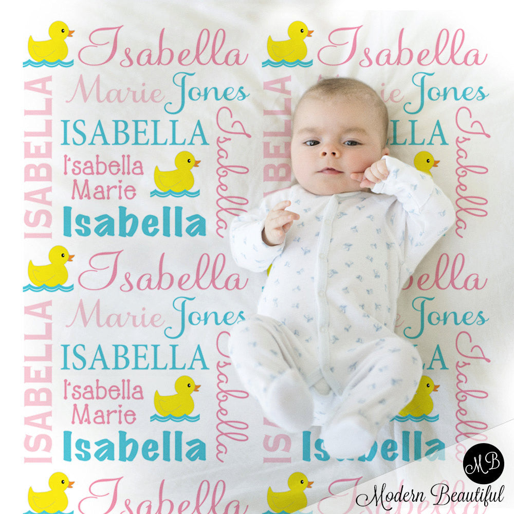 Ducky Name Blanket in pink and aqua for Baby Girl photo prop blanket, personalized, rubber ducky blanket, duck blanket, choose colors