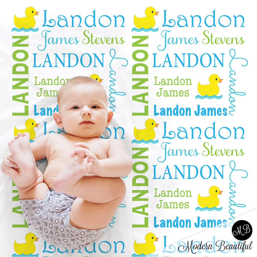 Ducky Name Blanket in lime green and sky blue Baby Boy photo prop blanket, personalized, rubber ducky blanket, duck blanket, choose colors