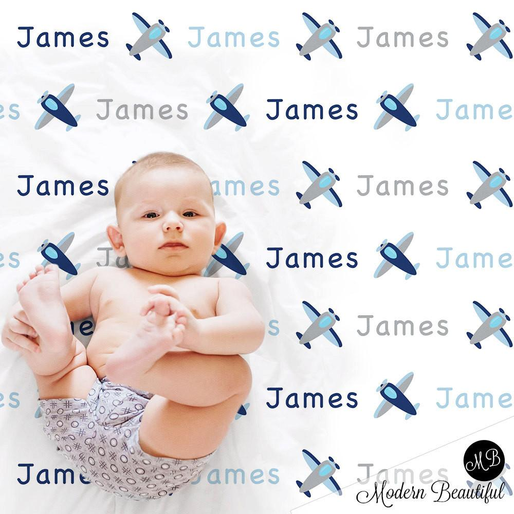 Airplane Name Blanket for Baby Boy, personalized baby gift, personalized photo prop blanket with airplanes - choose your colors