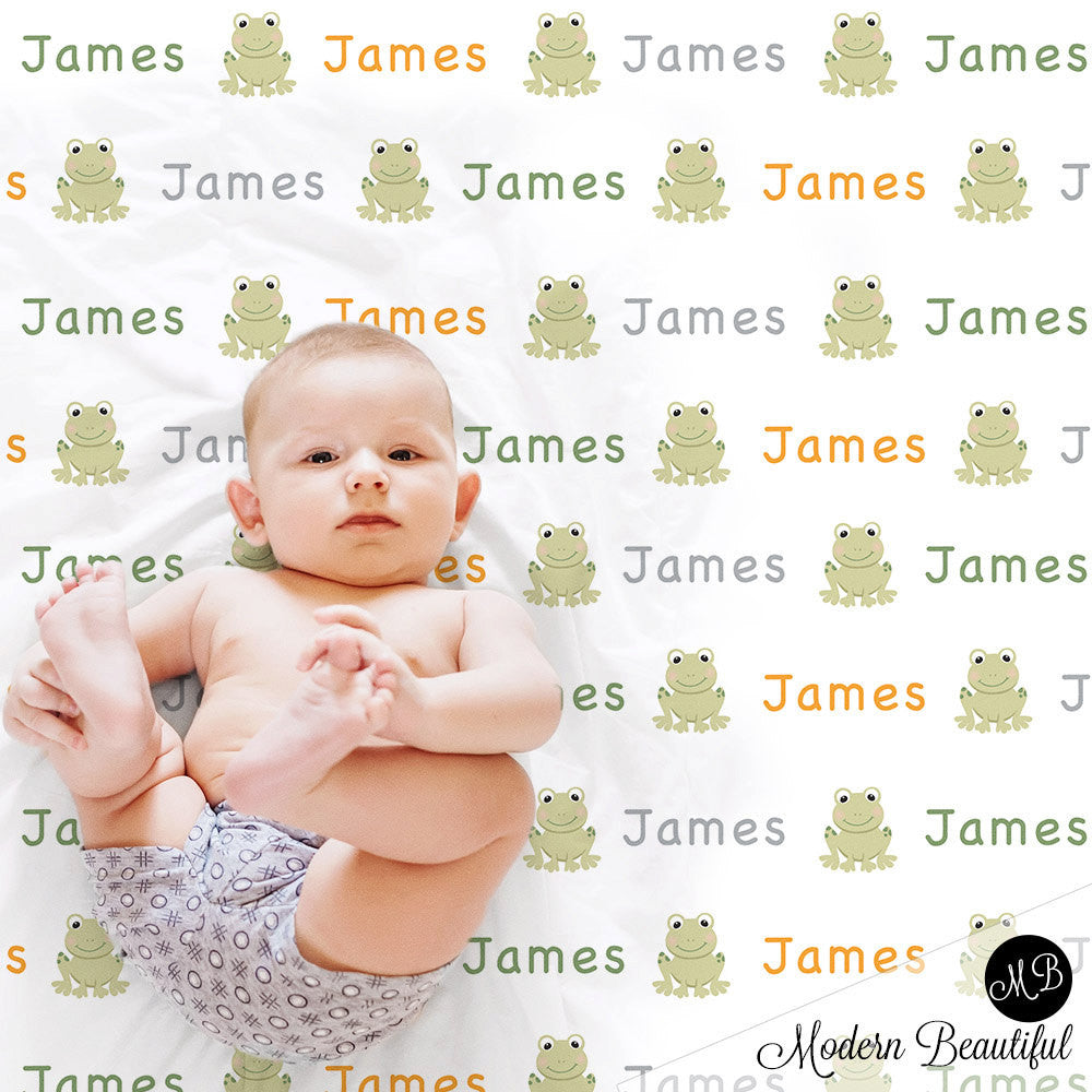 Frog Name Blanket for Boy, personalized baby gift photo prop blanket, repeating name with frog, personalized blanket, choose colors