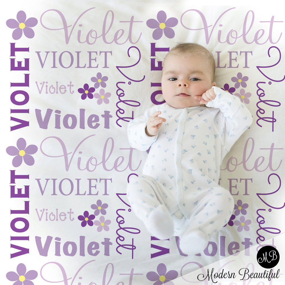 Flower name blanket in purple and gray for baby girl personalized flower name blanket in purple and gray for baby girl personalized baby gift blanket negle Images