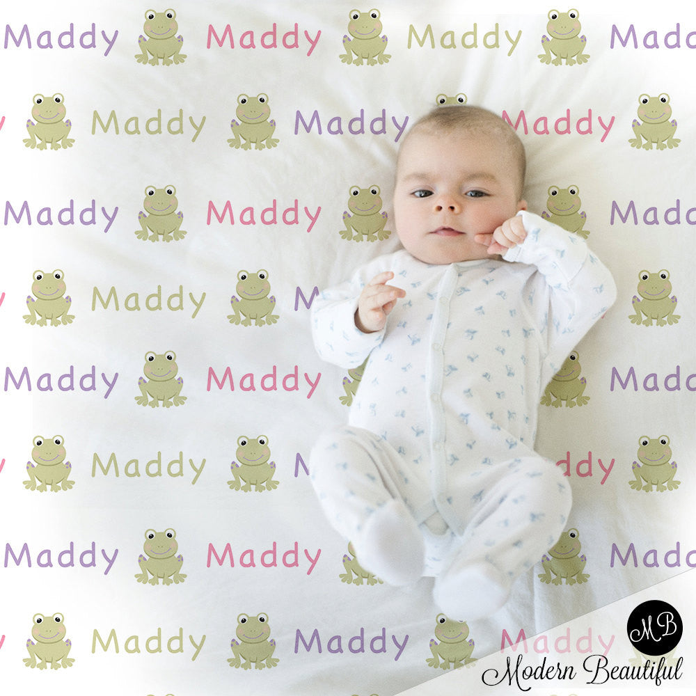 Frog Name Blanket for Girl, personalized baby gift photo prop blanket, repeating name with frog, personalized blanket, choose your colors