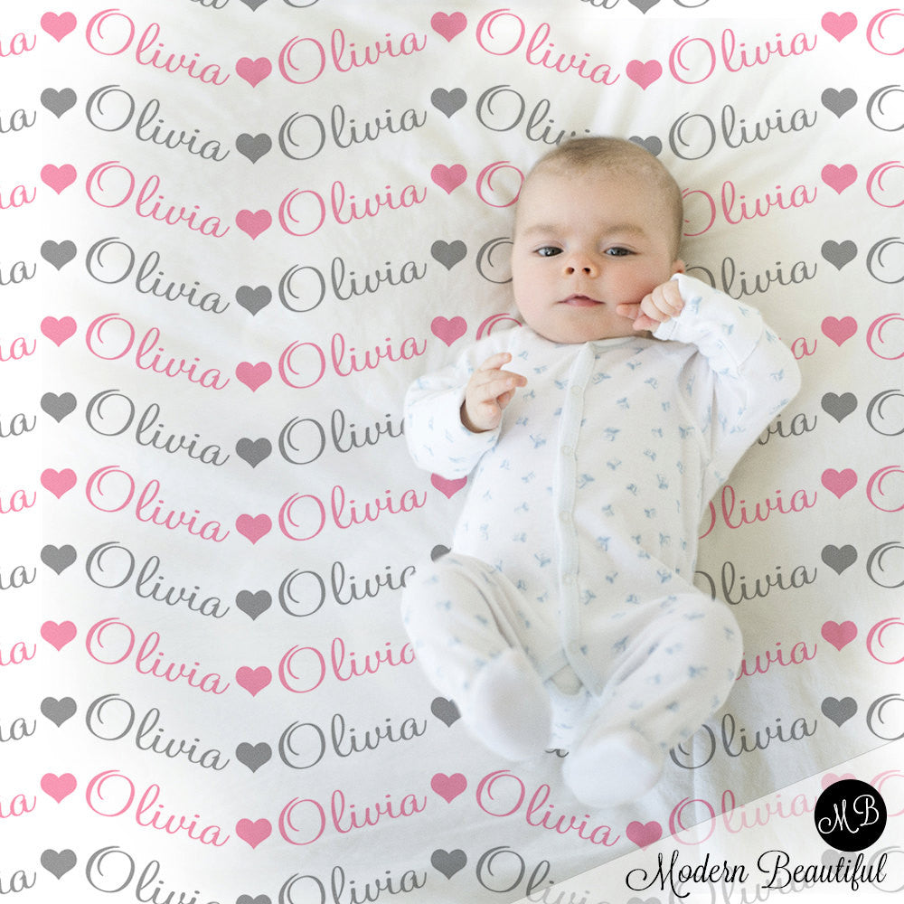 Hearts Baby Girl Name blanket in pink and gray script font, personalized baby gift, photo prop blanket, baby blanket, choose colors