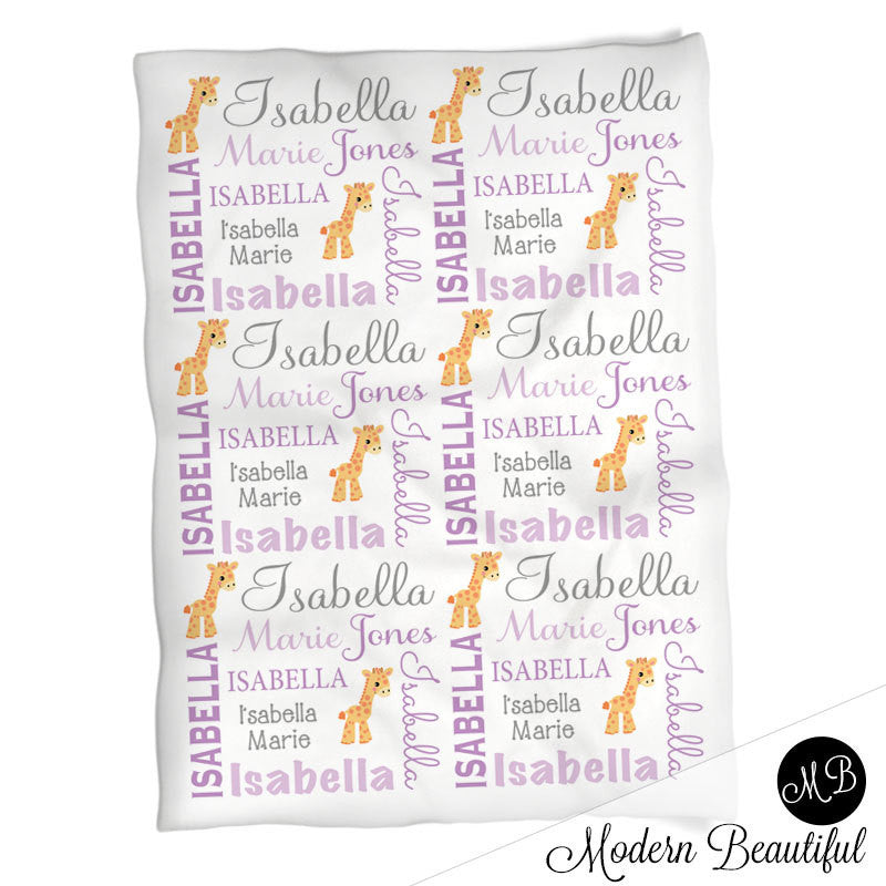 Giraffe name blanket in purple and gray for baby girl personalized giraffe name blanket in purple and gray for baby girl personalized baby gift photo negle Choice Image