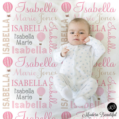 Hot Air Balloon Name Blanket in pink and tan, Girl, personalized blanket, custom blanket, baby blanket, personalized blanket, choose colors