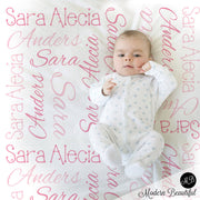Baby Girl Name Blanket in Pink, personalized name blanket, girl baby blanket, baby shower gift