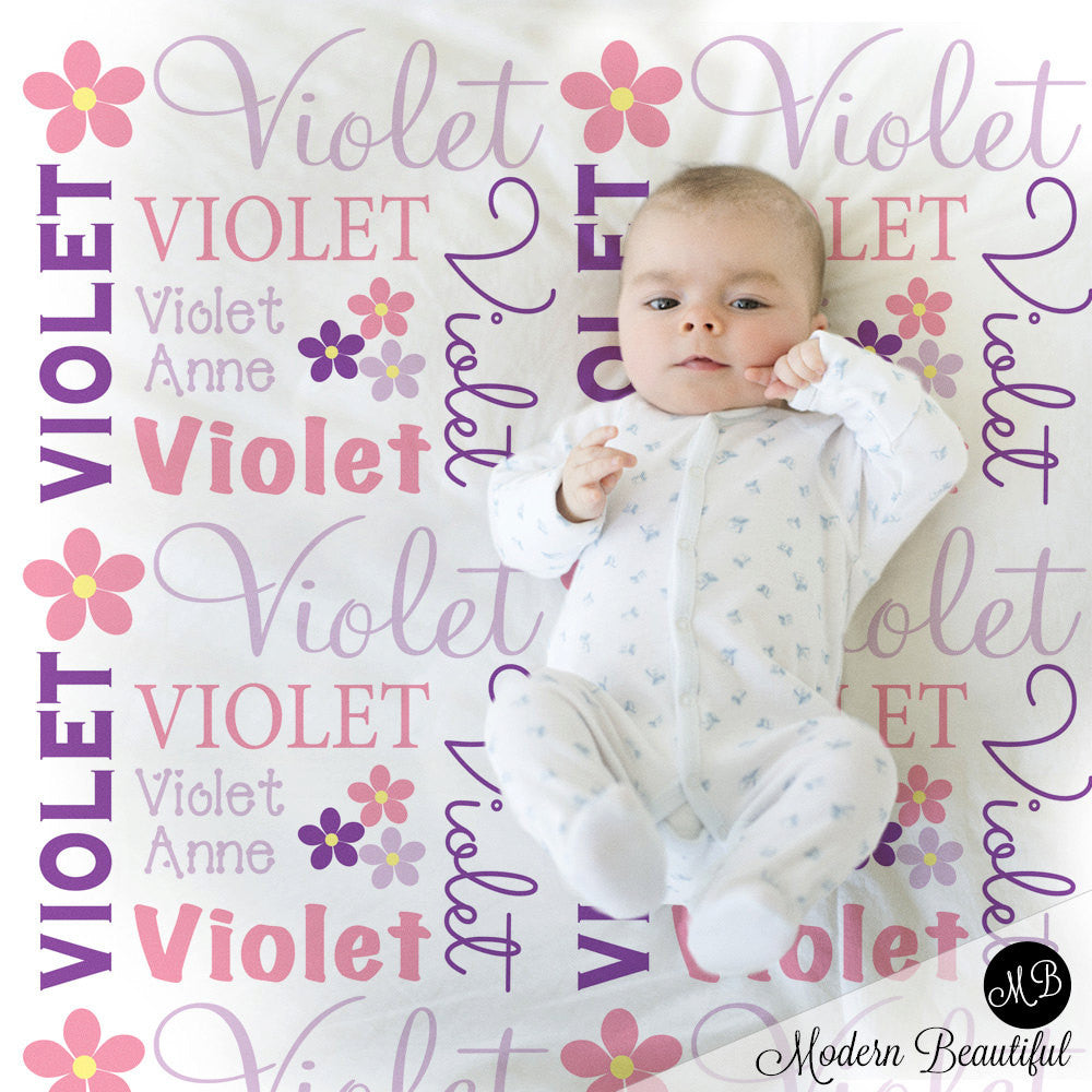 Photo Prop Blanket in pink lavender and purple for Baby Girl, personalized baby gift, photo prop, personalized blanket, choose colors