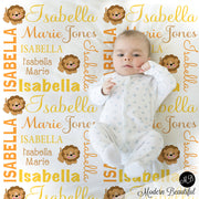 Lion Name Blanket for Baby Girl, personalized baby gift,  photo prop blanket, personalized blanket, safari animal lion choose colors