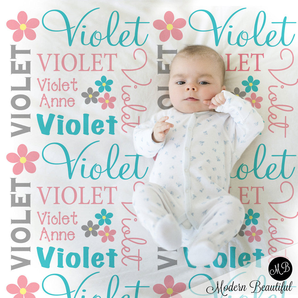 Flower Name Blanket in pink aqua and gray for Baby Girl, personalized baby gift, blanket, baby blanket, personalized blanket, choose colors