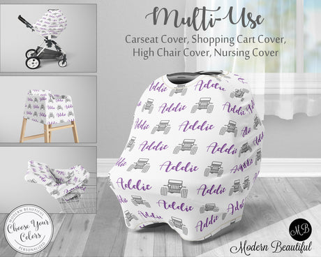 Jeep 4x4 baby boy or girl car seat canopy cover, jeep baby gift, purple and white, custom infant car seat cover, personalized baby name carseat cover, nursing privacy cover, shopping cart cover, high chair cover (CHOOSE COLORS)