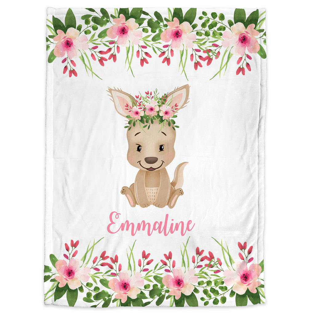 Baby girl kangaroo blanket, pink and gray name blanket, floral kangaroo swaddling blanket, kangaroo baby gift, girl baby shower gift, choose colors
