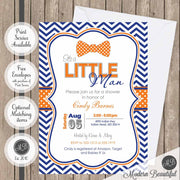 Navy and orange little man boy baby shower invitation