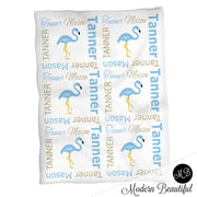Flamingo baby blanket in blue for boy, personalized baby gift, flamingo blanket, blue flamingo blanket, personalized blanket, photo prop, choose colors