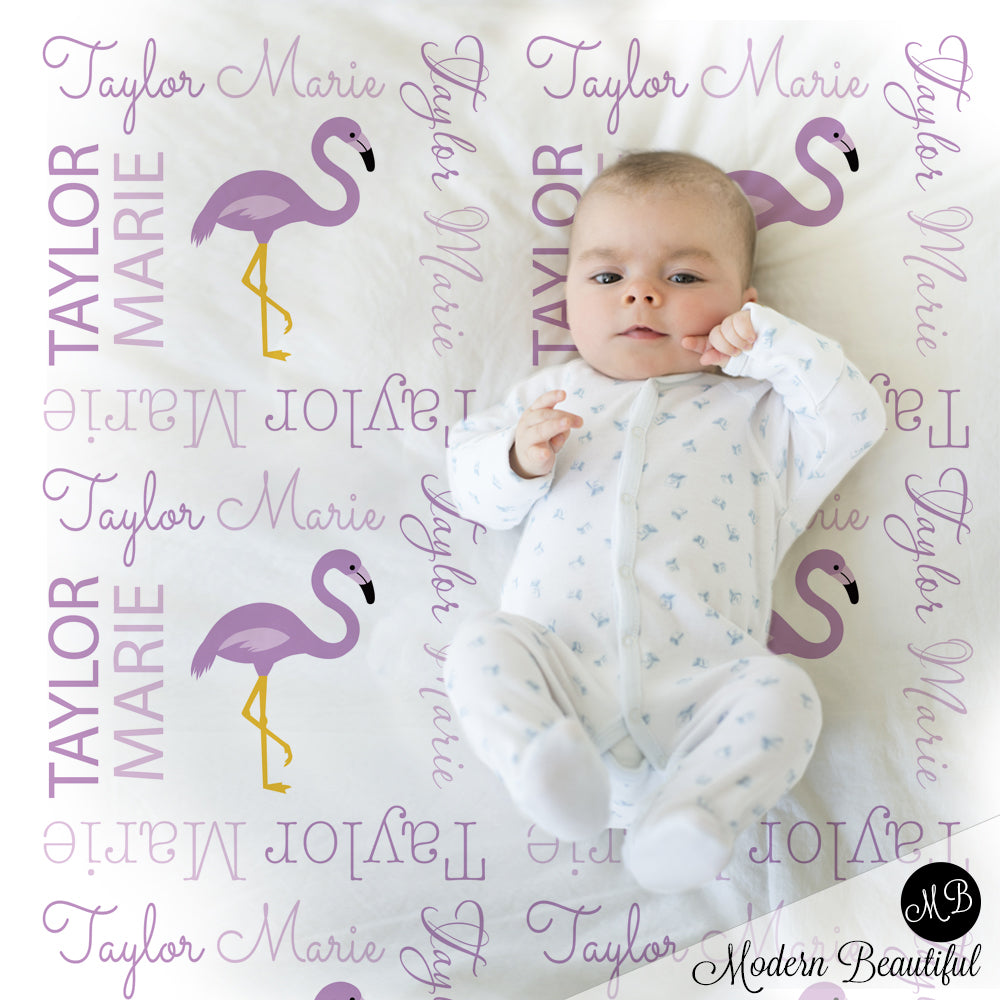 purple flamingo baby blanket