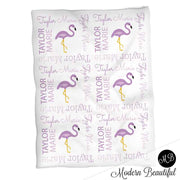 Baby girl purple flamingo name blanket, flamingo baby blanket, baby girl flamingo blanket, girl flamingo baby shower gift, choose colors