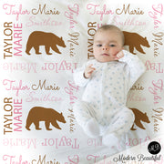 Girl forest bear baby blanket