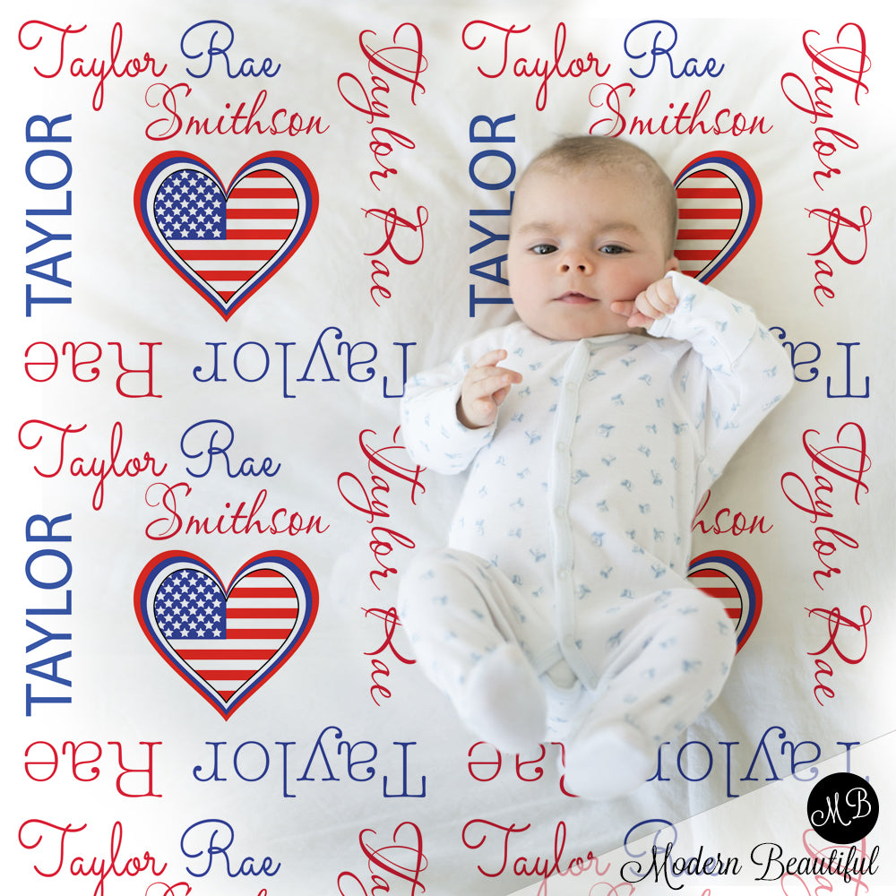 American flag heart girl baby name blanket, American flag personalized blankets, red, white and blue, boy or girl blanket, baby shower gift, personalized name blanket, (CHOOSE COLORS)