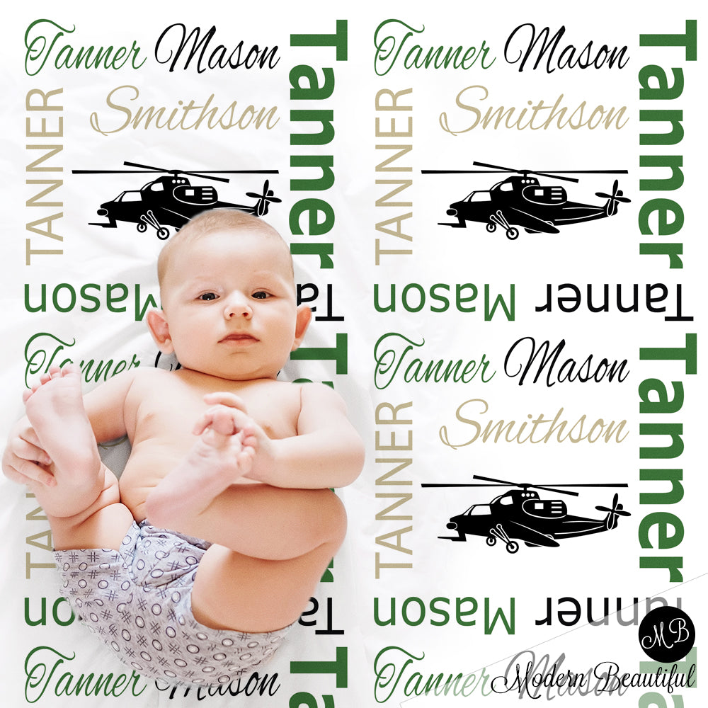 Helicopter name blanket in green and black, personalized boy army military baby blanket, boy or girl name blanket, personalized name blanket, baby shower gift (CHOOSE COLORS)
