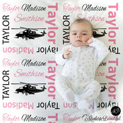 pink and black helicopter baby blanket