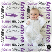 purple and black helicopter baby blanket
