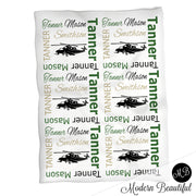 personalized boy army military baby blanket