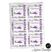 Baby girl helicopter name blanket, purple and black helicopter swaddling blankets, baby girl helicopter blanket, helicopter baby shower gift, (CHOOSE COLORS)
