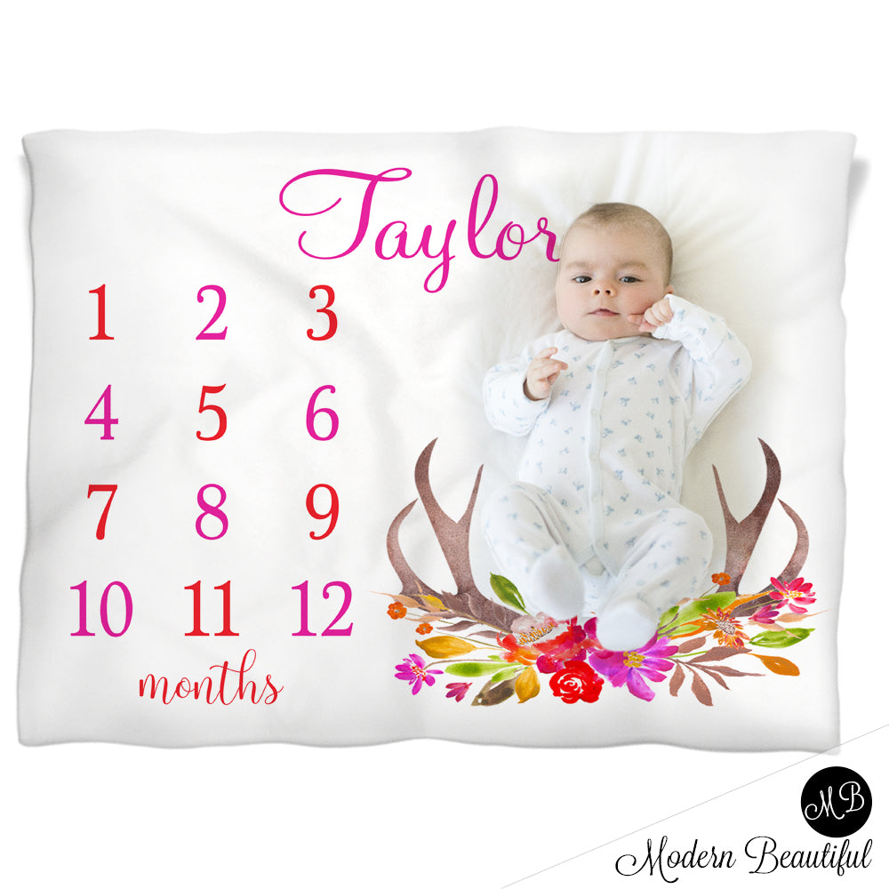 Pink deer antler girl baby blanket, floral antler personalized growth baby gift, deer antler baby gift, personalized photo prop blanket - choose your colors