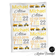 Construction baby boy stats blanket, yellow and black, dump truck boy baby blanket, personalized construction baby blanket, baby stats blanket, boy or girl stats swaddle blanket, baby shower gift, choose colors