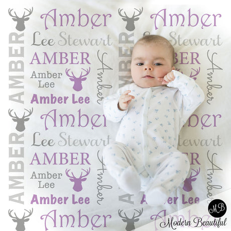 Baby girl deer antler name blanket in gray and purple, antler swaddling blanket, baby girl deer blanket, antler blanket, deer antler baby shower gift, (CHOOSE COLORS)
