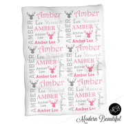 Baby girl deer antler name blanket in gray and pink, antler swaddling blanket, baby girl deer blanket, antler blanket, deer antler baby shower gift, (CHOOSE COLORS)
