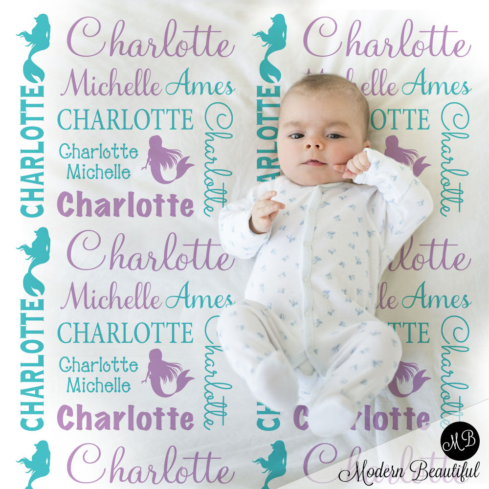 b0ce66a6c Baby girl mermaid name blanket in purple and teal
