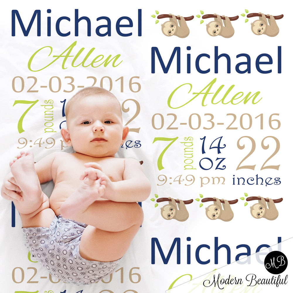 sloth baby name blanket