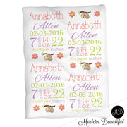 Sloth baby girl stats blanket, green and pink, sloth girl baby blanket, personalized sloth bear baby blanket, baby stats blanket, boy or girl stats swaddle blanket, baby shower gift, choose colors
