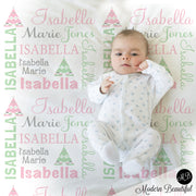boho teepee baby girl name blanket
