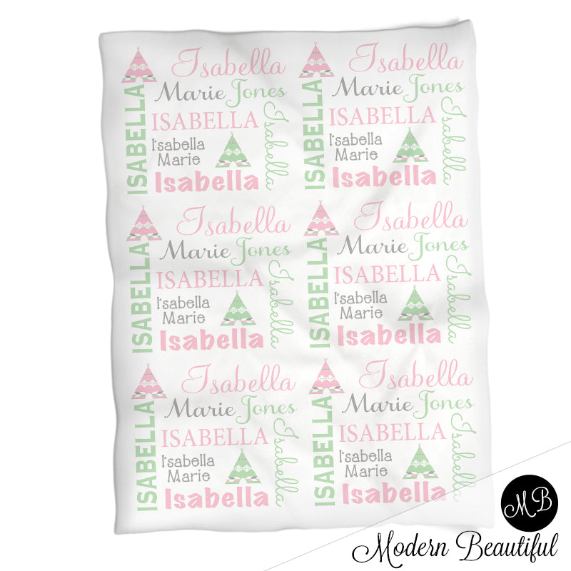 sports shoes e7562 5e151 Baby girl teepee name blanket in mint, pink and gray, boho swaddling  blanket, baby girl teepee boho blanket, mint and pink blanket, teepee baby  shower ...