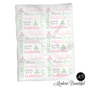 Baby girl teepee name blanket in mint, pink and gray, boho swaddling blanket, baby girl teepee boho blanket, mint and pink blanket, teepee baby shower gift, (CHOOSE COLORS)