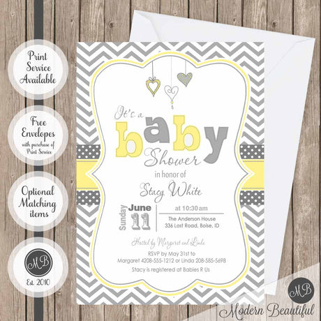 Yellow and gray hearts baby shower invitation, gender neutral baby shower invitation, heart baby shower invitation, boy or girl baby shower invitation