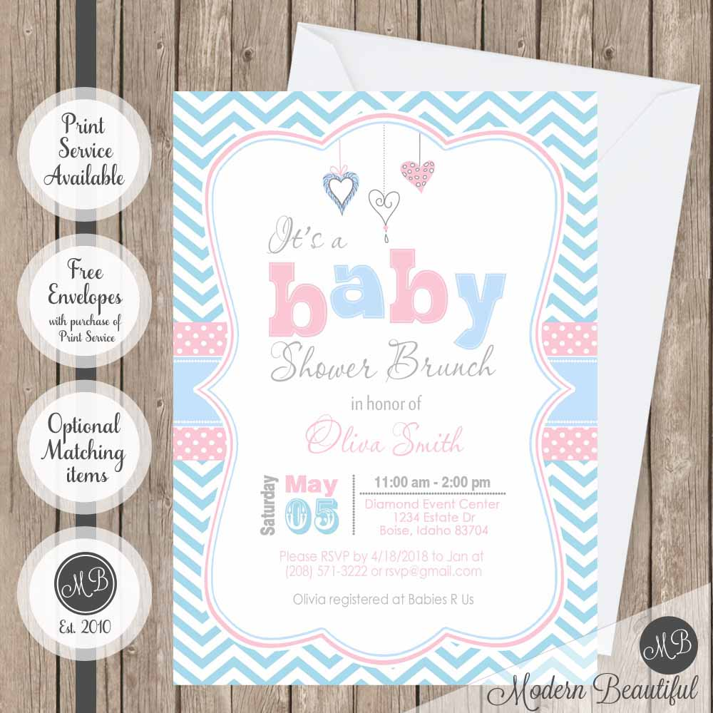 Pink and blue hearts baby shower invitation, hearts baby shower invitation, chevron baby shower invitation, girl baby shower invitation