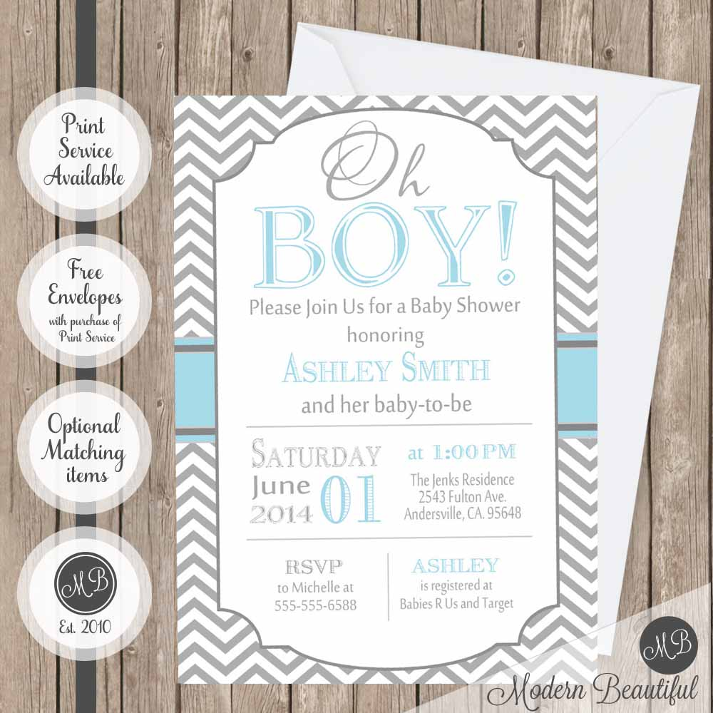 Blue and gray oh boy baby shower invitation, baby oh boy shower invitation, oh boy theme baby shower invitation, digital or printed baby shower invitation