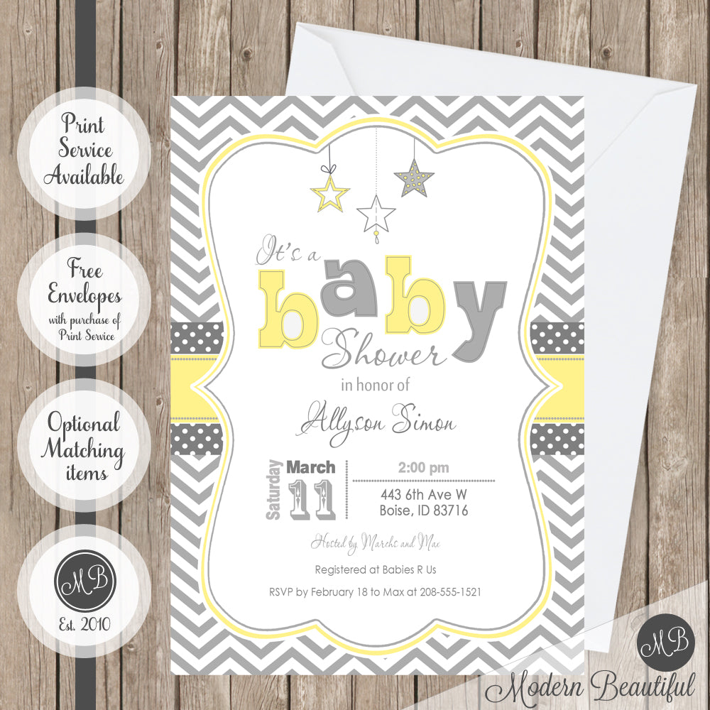 Gray and yellow twinkle twinkle little star baby shower invitation ...