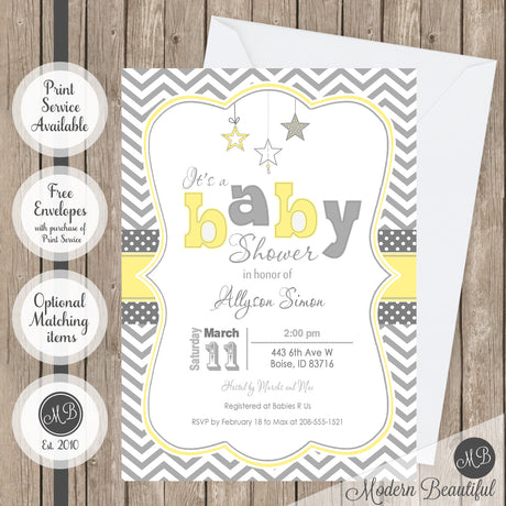 Yellow and gray twinkle twinkle little star baby shower invitation, gender neutral baby shower invitation, boy or girl star baby shower invitation, boy or girl baby shower invitation