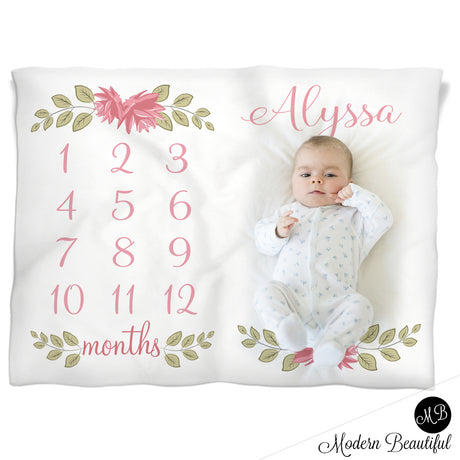 Baby girl floral name baby blanket, floral monthly milestone blanket, flower personalized growth baby gifts, personalized photo prop blanket - choose your colors