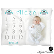 owl baby name blanket