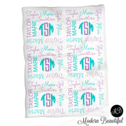 Monogram girl baby name blanket, monogram personalized blankets, teal and purple, boy or girl blanket, baby shower gift, personalized name blanket, (CHOOSE COLORS)