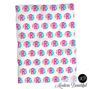 Monogram girl baby name blanket, monogram personalized blankets, pink and teal, boy or girl blanket, baby shower gift, personalized name blanket, (CHOOSE COLORS)