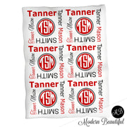 Monogram baby name blanket, red and black, monogram baby blanket, baby swaddling blankets, baby girl or boy, baby name blanket, baby shower gift, (CHOOSE COLORS)