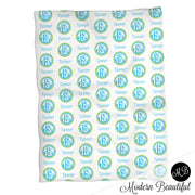 Monogram baby name blanket, teal and green, monogram baby blanket, baby swaddling blankets, baby girl or boy, baby name blanket, baby shower gift, (CHOOSE COLORS)