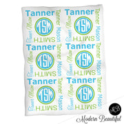 Monogram baby name blanket, green and teal, monogram baby blanket, baby swaddling blankets, baby girl or boy, baby name blanket, baby shower gift, (CHOOSE COLORS)